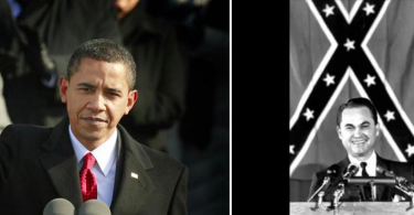 Image of Obama making an inaugural speech and George Wallace making an inaugural speech