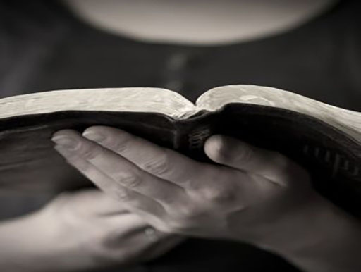 a picture of two hands holding and reading the bible