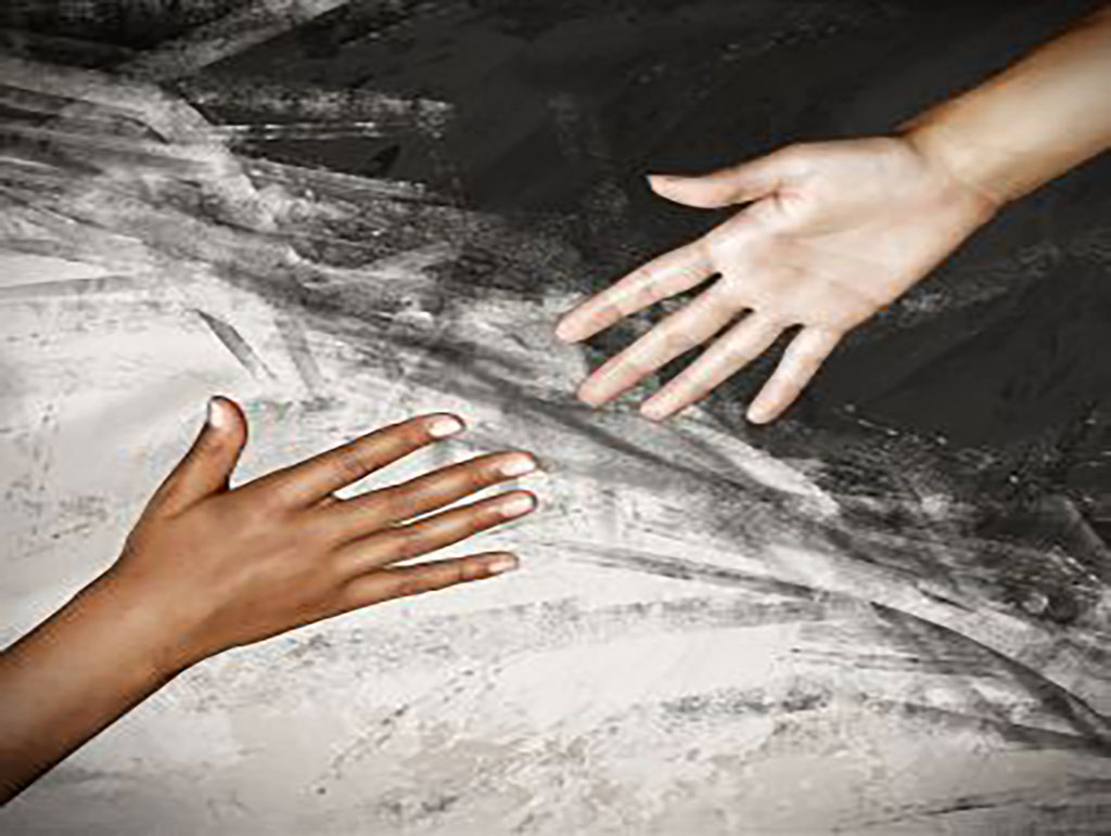 a multiracial picture of hands depicting a war on racism.