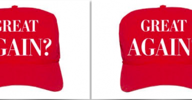 a picture of a hat questioning the phrase, Make America Great.