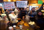 Demonstrators protesting racist behavior in Starbucks